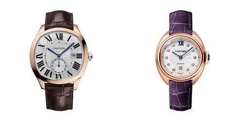 Drive de Cartier腕錶,18K玫瑰金,白色雕紋錶盤;卡地亞Clé de Cartier鑲鑽腕錶,31mm