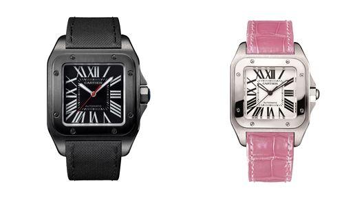 卡地亞 Santos 100 碳鍍層腕錶,大型款;卡地亞 Santos 100 腕錶,中型款,粉色皮錶帶