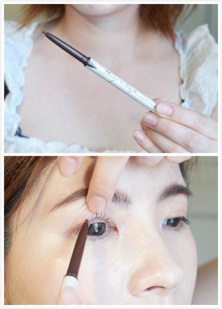 最後終於到了眼妝,我會先用「超流線抗暈眼線膠筆」。