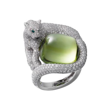 卡地亞 Etourdissant 頂級珠寶美洲豹橄欖石戒指