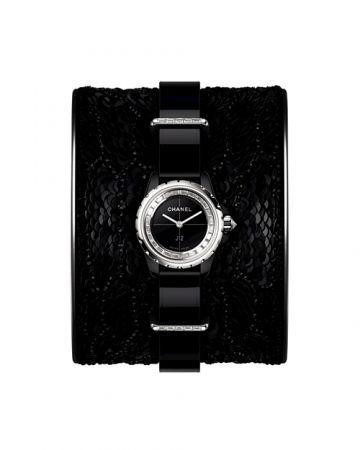 J12∙XS 黑色LESAGE刺繡手鐲腕錶