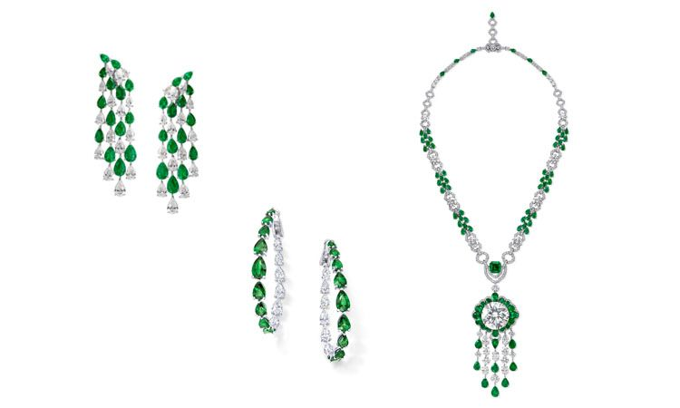 GRAFF梨形祖母綠和鑽石耳環、多形切割祖母綠和鑽石項鍊