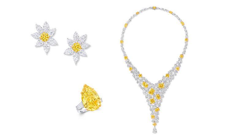 GRAFF 多形切割黃鑽和白鑽項鍊、多形切割黃鑽和白鑽花朵造型耳環、22.08克拉梨形黃鑽戒指