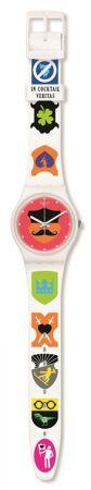 普普圖像GW179 /NT$ 1900白色基底,彩色長短不一的錶帶,烘托銀色超薄錶盤。驚奇創意的設計,跳脫無聊,為生活帶來樂趣。