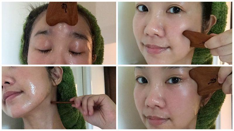 用紫檀木按摩片可以輕鬆按摩臉部穴道、提拉線條。