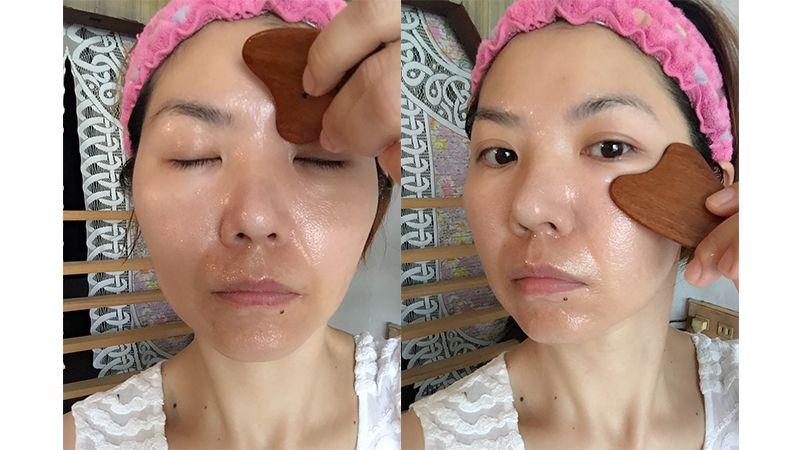 利用紫檀木按摩片針對全臉、局部按摩,可以促進血液循環,讓眼周更有彈性,皮膚也變得更緊緻有光澤。