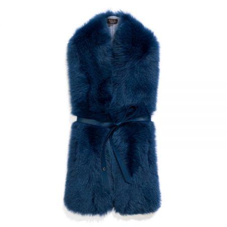 藍色毛草圍巾