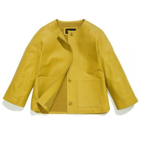 黃色七分袖圓領夾克