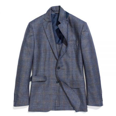 羊毛真絲亞麻混紡西裝夾克(男)