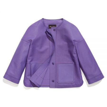紫色七分袖圓領夾克