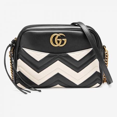 GG Marmont黑白幾何皮革拼接鍊帶包NT$69,300