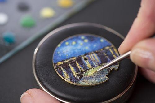 《隆河上的星空》三問錶款彩繪工藝圖