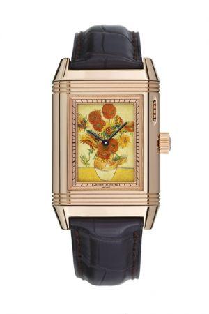 隱藏式琺瑯彩繪翻轉腕錶,錶盤圖案為梵谷代表作品《向日葵》,限量五只