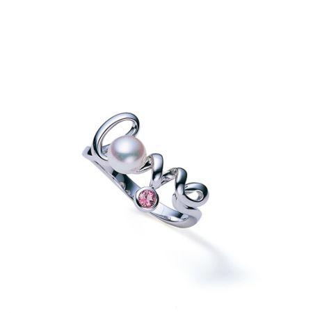 Love系列白金珍珠鑲粉紅剛玉戒環,Mikimoto