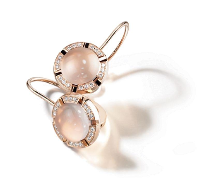 玫瑰金鑲嵌粉紅石英石與鑽石耳環,Chaumet