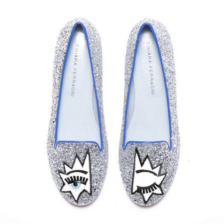 Flirting系列 龐克圖騰滾藍邊樂福鞋$11,200