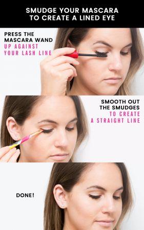 用睫毛膏畫出眼線將睫毛膏棒沿著你的睫毛根部,也就是眼皮上方眼線處點擦,然後再使用有角度的順成線條即可完成。