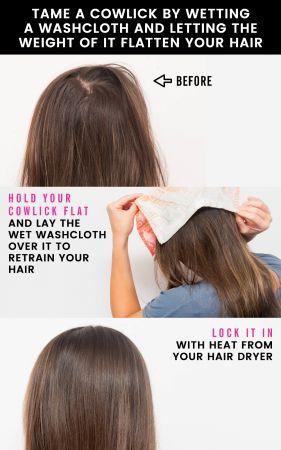 惱人的髮漩怎麼蓋?妳也跟編一樣,常常被頑強的髮漩髮絲困擾著?其實有個簡單的方法就可以解決!拿個溫熱的濕毛巾在髮漩處擦拭,然後再用吹風機和梳子將頭髮重新塑形就可以了喔。