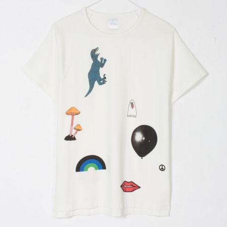 prxm-019v-v80a-w f 趣味圖印白色T-Shirt $9,800