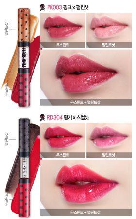 Etude House粉紅骷髏系列雙色唇彩試色。