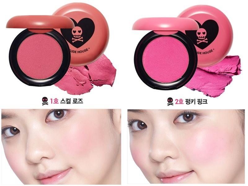 Etude House粉紅骷髏系列腮紅試色。