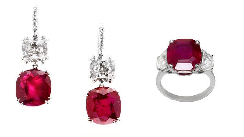 林心如配戴BVLGARI 頂級紅寶石、鑽石耳環頂級鉑金耳環,鑲嵌2顆枕型切割緬甸紅寶石(各重約6.23克拉與6.08克拉),另鑲飾2顆圓形明亮切割鑽石(各重約2.52克拉與2.63克拉,G – VS1)約NT$ 277,000,000BVLGARI 頂級紅寶石戒指頂級鉑金戒指,主石鑲嵌1顆鴿血紅緬甸紅寶石(重約9.12克拉),側邊鑲飾兩顆半月形切割鑽石(總重約1.95克拉)約新台幣215,700,000元