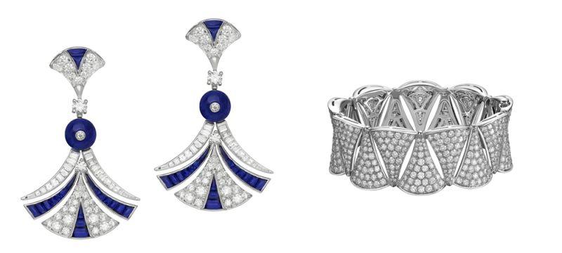 林心如配戴BVLGARI DIVAS' DREAM系列頂級藍寶石與鑽石耳環頂級白K金耳環,鑲嵌2顆藍寶石圓珠(總重約4.37克拉),38顆buff-top切割藍寶石(總重約2.47克拉),4顆圓形明亮切割鑽石,花式切割鑽石與密鑲鑽石作為鑲飾(總重約2.51克拉)約新台幣5,700,000元BVLGARI DIVAS' DREAM系列鑽石手環DIVAS' DREAM系列白K金鑽石手環,鑲飾密鑲鑽石共16.86克拉約NT$ 3,322,000 元