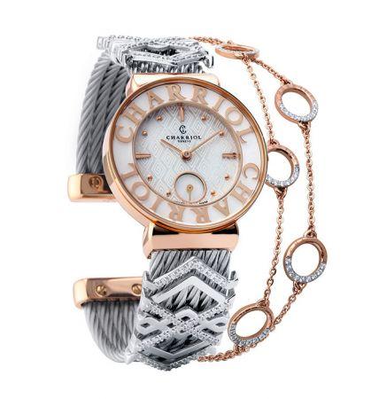 ST-TROPEZ-Style腕錶系列珍珠貝母菱格紋錶盤鍍玫瑰金錶盤,建議售價NT81,700