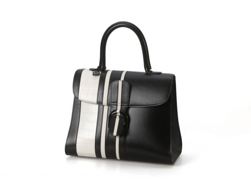 Brillant系列 黑白條紋珍稀皮革拼牛皮中型手提包 NT$420,000