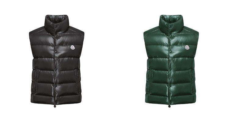 【男裝】MR. _ MRS. MONCLER 特別系列 TIB 深邃玄黑、綠色羽絨背心,NT$21,400。