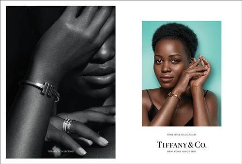 Tiffany 傳奇風格形象廣告 - Lupita Nyong'o 配戴Tiffany T Square手鐲與即將面世的Tiffany T Two戒指,展現自信態度,以呼應她堅強的生命力。