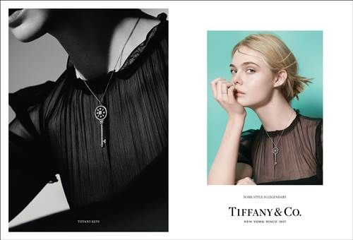 Tiffany 傳奇風格形象廣告 - 擁有無限機會的年輕夢想家 Elle Fanning,配戴象徵璀璨未來的Tiffany Keys與簡約優雅的Tiffany Metro 鑲鑽戒指。