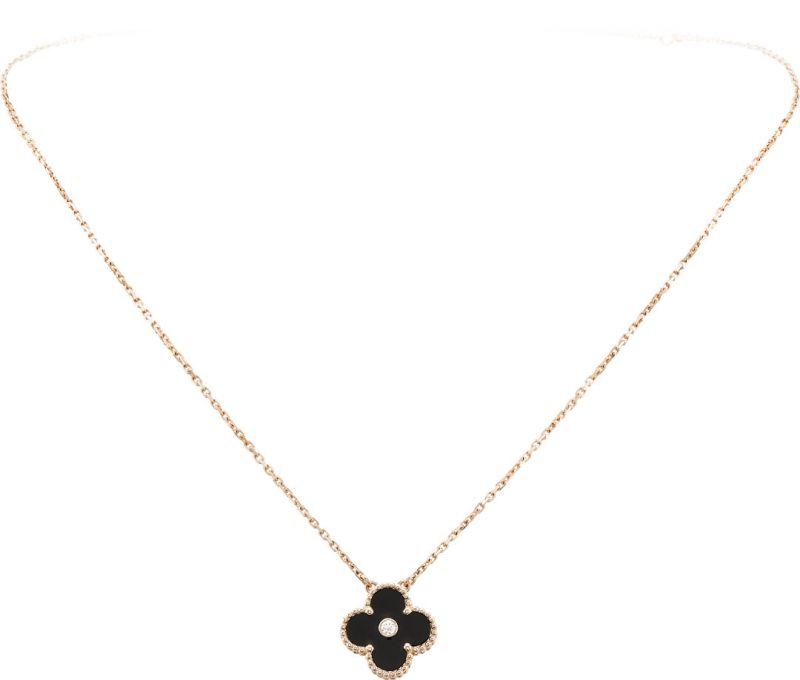 Vintage Alhambra吊墜限量版 玫瑰金、縞瑪瑙、圓鑽