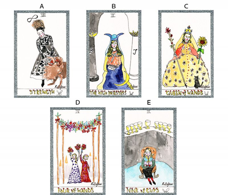 以下五張塔羅牌,請挑選你最喜歡的一張牌卡。