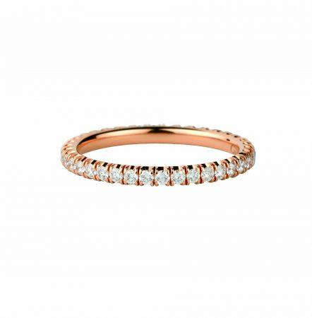 卡地亞單排鑽石玫瑰金戒指