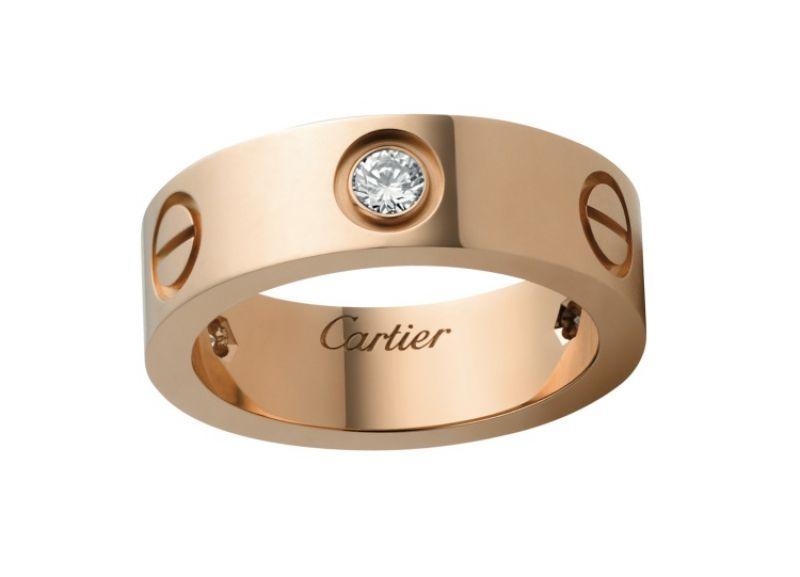 卡地亞LOVE系列鑽戒,玫瑰金鑲嵌3顆美鑽