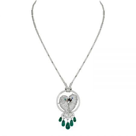 卡地亞Les Oiseaux Libérés愛情鳥系列祖母綠流蘇項鍊