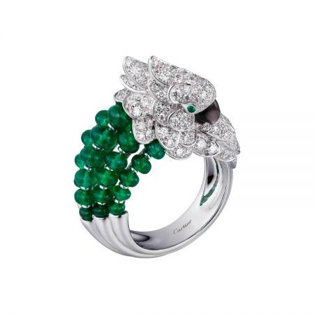 卡地亞Les Oiseaux Libérés鸚鵡系列祖母綠戒指