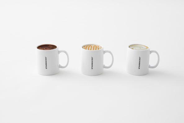 日本獨賣的這款馬克杯,正面具備原本的咖啡容器功能,反面在洗完杯子倒扣印上三款星巴克經典口味,「美式」、「那堤」和「焦糖瑪奇朵」