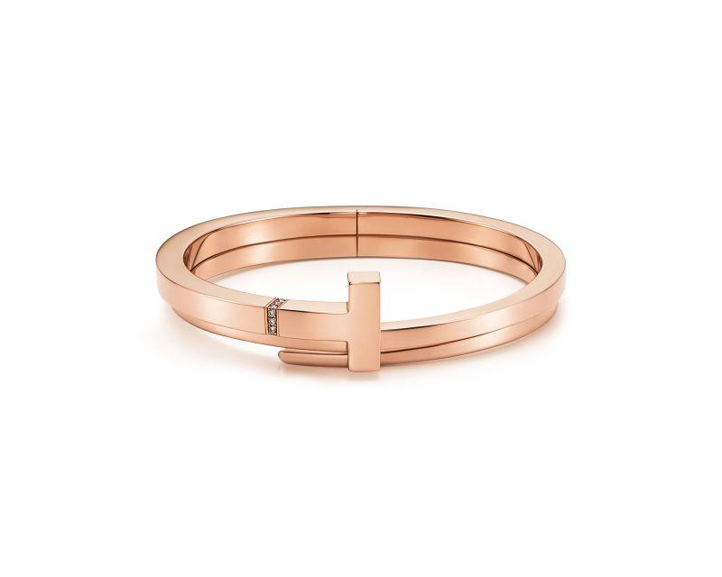Tiffany T Wrap 玫瑰金鑲鑽手環