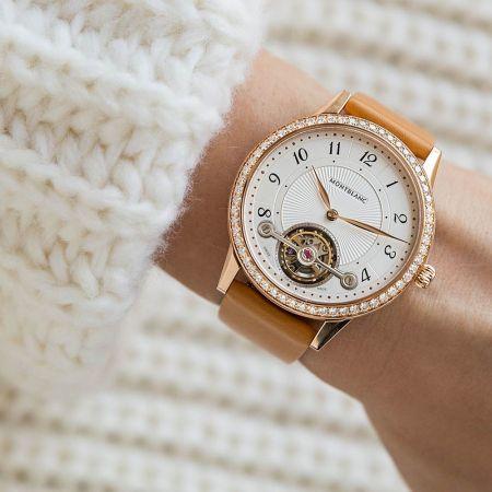 萬寶龍 Boheme 寶曦系列外置陀飛輪超薄腕錶卡布奇諾色錶帶款