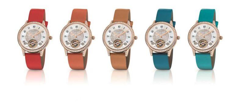 萬寶龍 Boheme 寶曦系列外置陀飛輪超薄珠寶腕錶可搭配多款彩色小牛皮錶帶