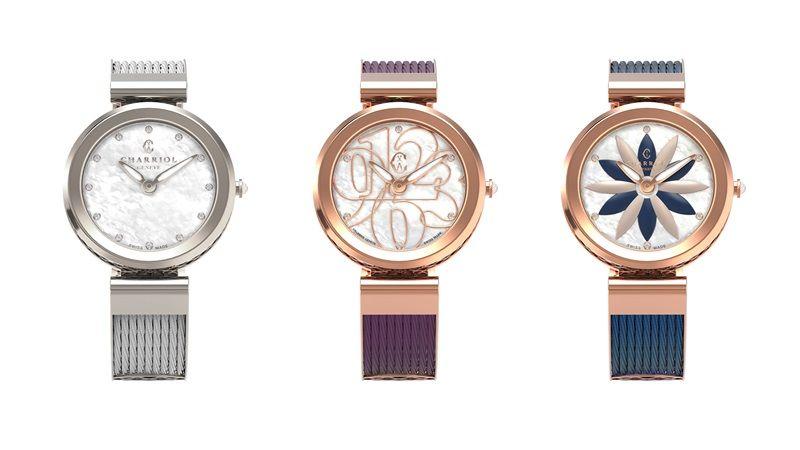 (左至右)FORVER WATCH-閃鑽繁星-精鋼錶盤,建議售價NT35,600FORVER WATCH-數字遊戲-鍍玫瑰金錶盤(紫),建議售價NT39,900FORVER WATCH-花花世界-鍍玫瑰金錶盤(藍),建議售價NT39,900