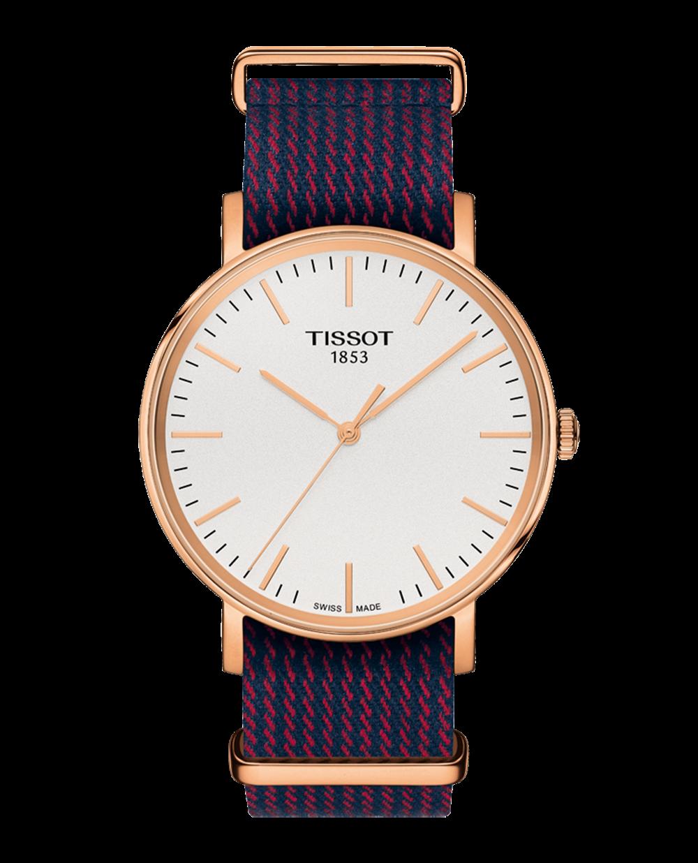 魅時系列腕錶,玫瑰金PVD精鋼錶殼,尼龍帆布錶帶,Tissot。