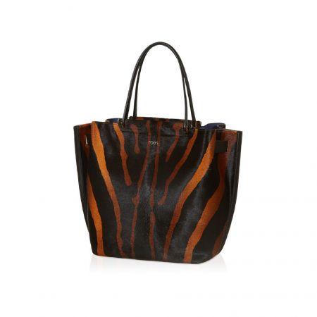TOD'S 棕黑斑馬紋 Wave Shopping Bag NT$91,700