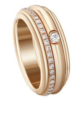 Possession 旋轉指環18K玫瑰金鑲嵌46顆圓形美鑽(約重0.45克拉)台幣參考售價189,000元