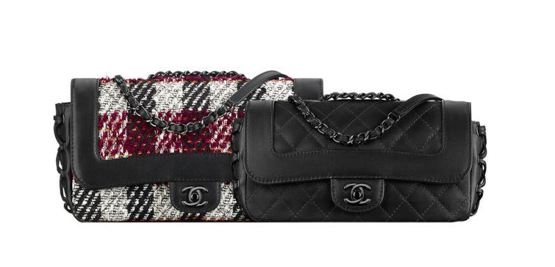 黑色皮革紫紅斜紋軟呢肩背包 售價NT$126,200