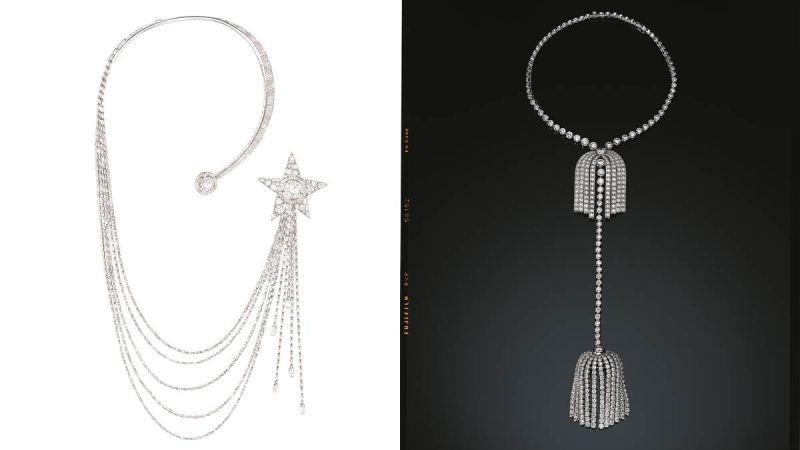 香奈兒女士曾說:「我的珠寶從來不離開女人和她的服裝,我的珠寶可以變化,因為我的服裝會改變。」Chanel 的珠寶總是強調變化性,同時融入功能性釦頭及可拆卸機關,像是流蘇鑽石長項鍊也可換成短鍊,Étoile Filante 項鍊則可另外拆出胸針,不必拘泥於一種固定穿戴方式。