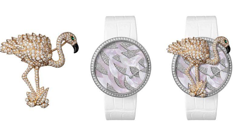 Cartier Les Indomptables de Cartier 火鶴裝飾胸針錶,能變化出三件單品—常備錶款、火鶴裝飾珠寶錶以及獨立的火鶴胸針