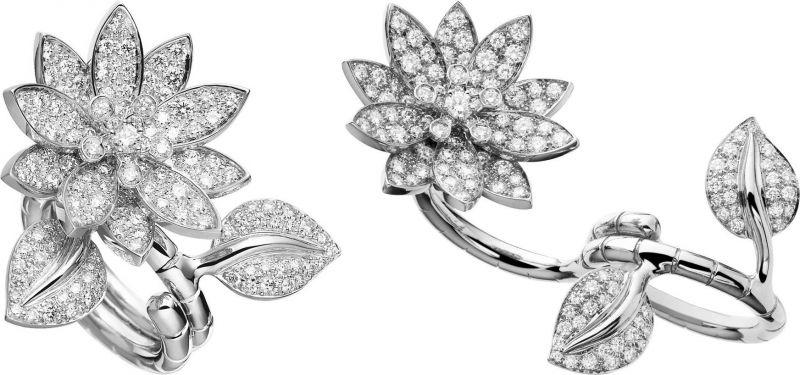 Van Cleef & Arpels 的蓮花造型指間戒指,只需要扭轉戒台,就能轉換成一般的單指戒指